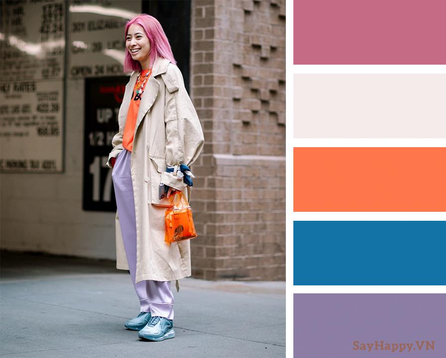 Mix màu Hồng xanh và cam tạo nên nét hiện đại trẻ trung