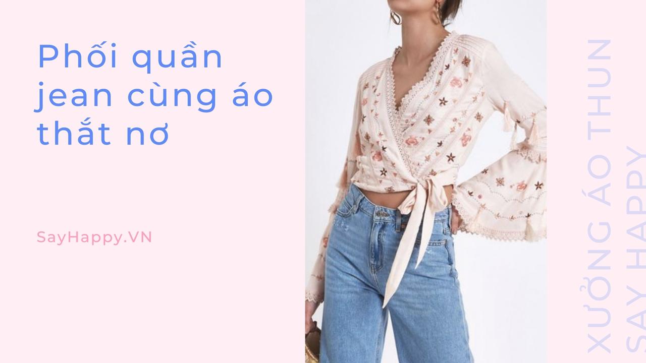 Mix jean và áo thắt nơ