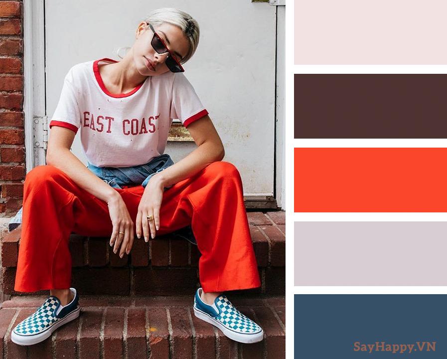 Trẻ trung và cá tính khi phối màu đỏ và xanh dương