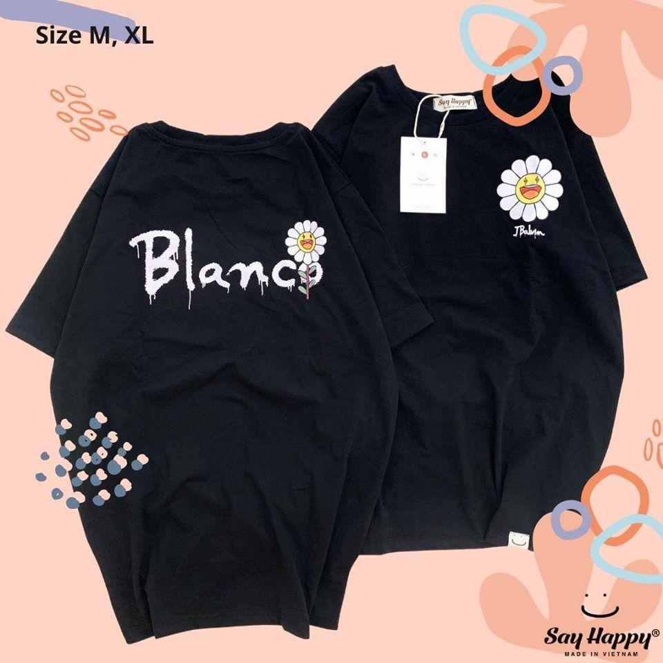 Áo blanco hoa cúc màu đen say happy