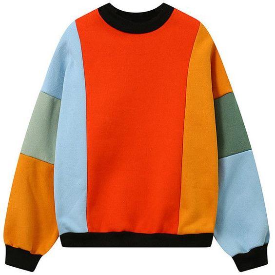 Áo color block với viền đen và nhiều khối màu kết hợp