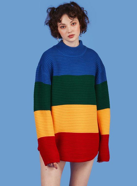 Những chiếc áo sweater thường sử dụng cảm hứng từ color block