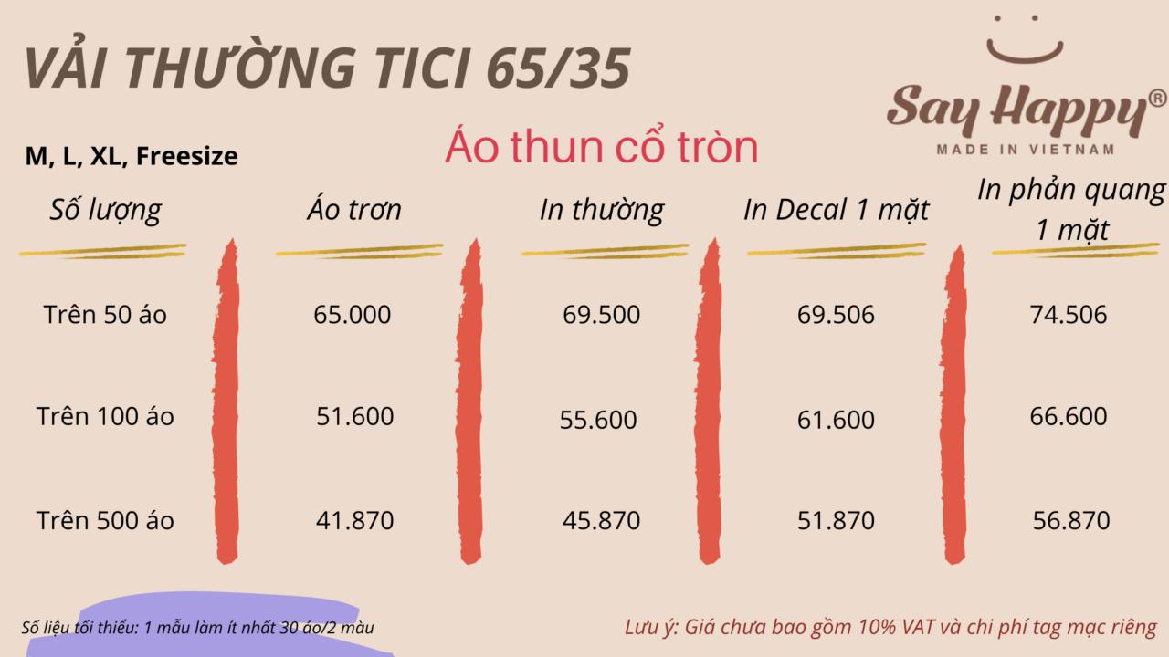 Bảng giá áo chất liệu vải thường tici 65/35